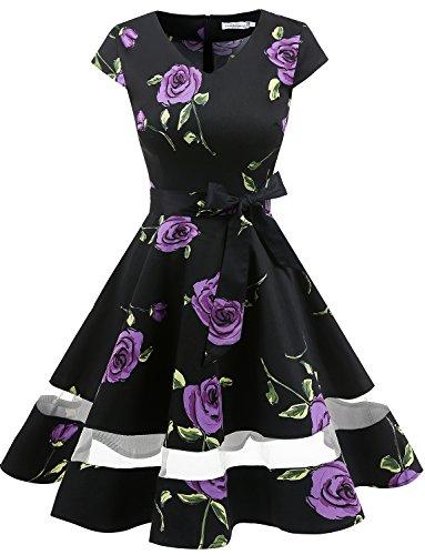 Party Frauen Kleider Für Cocktail (Gardenwed Damen Vintage 1950er Retro Rockabilly Cocktail Party Kleid Purple Rose M)
