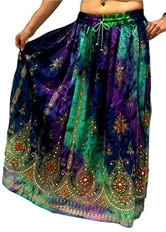 Bunte Womans Damen Indianer Boho Hippie Zigeuner Sequin Sommer Sommerkleid Maxi Bauchtanz Rock (3)