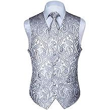 Hisdern Chaleco y corbata de bolsillo con chaleco de flores y panuelos en blanco clasico de