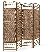 Relaxdays–Biombo plegable de 4paneles de bambú, protege de la luz, divide los espacios, tabique de separación, 179x 180x 2cm (alto x largo x ancho), color natural