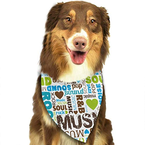 Wfispiy I Love Music Pet Dog Bandanas Triangle Bibs Scarf Accessories for Medium to Large - Mardi Love Kostüm