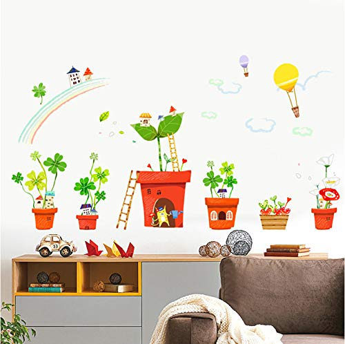 Persönlichkeits-Topfen Pflanzen grün Pflanzung kreative Wandaufkleber Cartoon Kindergarten Wandsticker -
