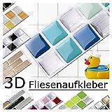 Grandora 7er Set 25,3 x 3,7 cm Fliesenaufkleber blau türkis Silber Fliesensticker Design 1 Mosaik 3D-Effekt Aufkleber Küche Bad Fliesendekor Selbstklebend W5288