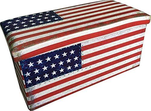 Tex family pouf contenitore poggiapiedi jack bandiera americana misura grande cm. 76x38x38