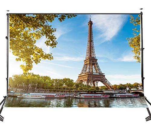 GzHQ 10x7ft Polyester Fotografie Hintergrund Berühmte Paris Eiffelturm Foto Requisiten Kulisse für Studio Requisiten 107-473 (Foto Kulissen Von Paris)
