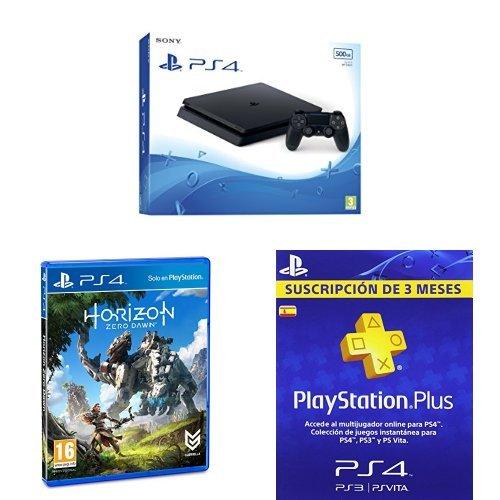 PlayStation 4 Slim (PS4) - Consola de 500 GB + Horizon Zero Dawn + PSN Plus Tarjeta 90 Días