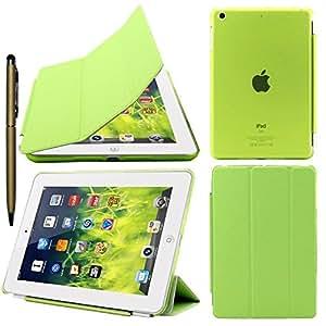 Elite Ultra Thin Smart Flip Foldable Flip Case cover for Apple iPad Mini 1 & 2 Retina Tablet with stylus (Sleep/wakeup) (Green)