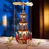 Spielwerk Piramide di Natale in Legno 4 Piani XL Girevole Decorazione di Natale addobbi Natalizi Design Classico