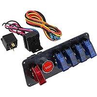 BQLZR DC12V Interruptor de Encendido + 4 Azul y 1 Rojo Motor Start Panel de Interruptor para el coche de competici¨®n