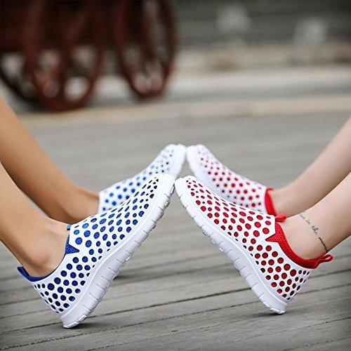 Damen / Herren Sport Sandalen Sommer waten Mesh Schuhe super leicht atmungsaktiv rutschfest blue white