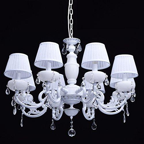 Kronleuchter weiß Kristall klar 8 flammig elegant pendell mit porzellan