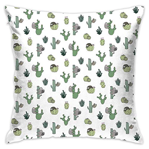 Cacti Sloths Throw Pillow Cases Square Cushion Cover for Sofa Decorative Office Chairs Home Decorative 18x18 Pillowcase (Zebra-back-kissen Für Bett)