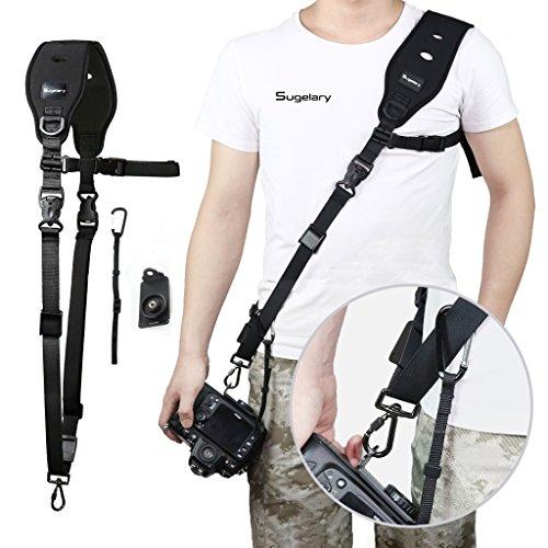Sugelary Kameragurt Schnellverschluss Neopren Schwarz Kamera Tragegurt Schultergurt Gurt für Canon Nikon Sony Fujifilm Olympus DSLR SLR (F-2) Test