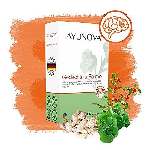 AYUNOVA Gedächtnis-Formel - 60 vegane Kapseln mit der einzigartigen Kombination aus bewährten Pflanzen, essentiellen Vitaminen und Mineralstoffen - damit Sie die täglichen Anforderungen gut bewältigen können