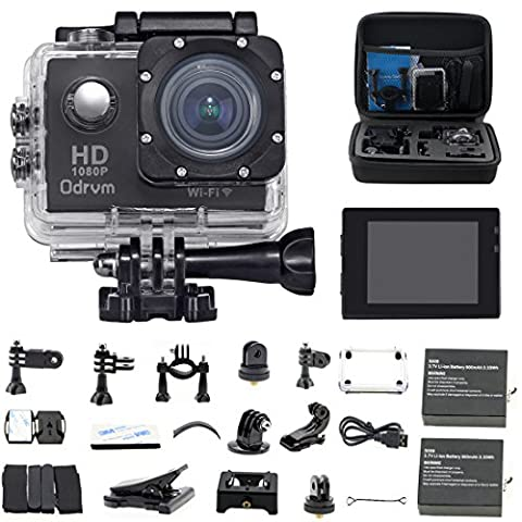 ODRVM Action Sports Camera Wi-Fi 1080P Waterproof 30m 2.0'' LCD 170° Wide-Angle 2 Batteries with Portable Package Case and 19 Accessories for Drone, Kids, Bike, Motorcycle, Helmet, Cycling, Diving, Snorkelling and Other Extreme