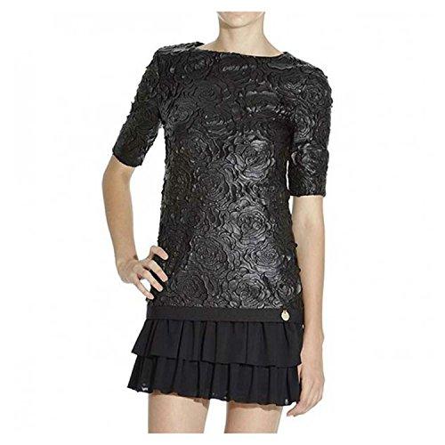 Abito Mangano modello Linz nero effetto pelle con fiori e gonna a pieghe black woman dress