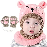 Bearbro Baby Boys Kids Girls Winter Scarf Hat and Gloves, Knitted Hat Scarf Set Neckerchief Warm Winter Crochet Hat Set 1-4 Years Pink