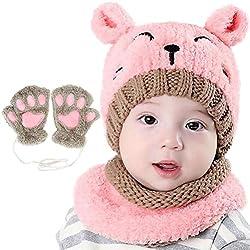 Bearbro Bufandas del Bebé, Invierno Niño Niña Sombrero y Bufandas otoño Invierno niños niñas Punto Gorras y Bufanda Guantes Traje de Tres Piezas (Rosado)