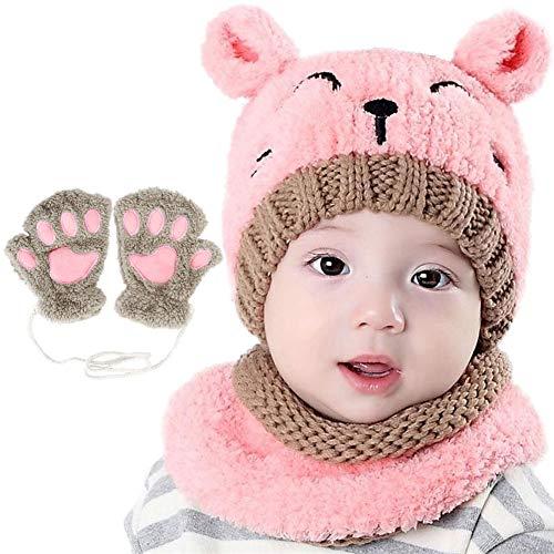 Bearbro 3 STÜCKE Kleinkind Baby Strickmütze Schal Baby Strickmütze Loop Schal Set Baby Winter Warme Beanie Cap mit Kreis Schleife Schal Handschuhe Für Kind Baby Boy Girl