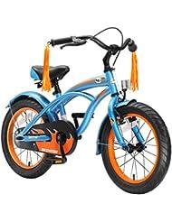 BIKESTAR® Premium 40.6cm (16 pulgada) Bicicleta Premium para los niños mas atrevidos y divertidos de 4 años ★ Edición Cruiser de Lujo ★ Azul