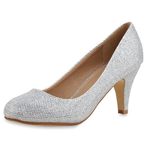 napoli-fashion Klassische Damen Pumps Strass Glitzer Party Schuhe Stiletto Mid Heels Metallic Hochzeit Abendschuhe Jennika Silber Silber