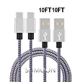 Type C Cable, Sumoon 2 Pack 10Ft Nylon Braided USB A to USB C Charger Cable Fast Charging Cord for Note8/S8/S8 Plus, Google Pixel 2 XL/Pixel XL, Nexus 6P/5X, Lg V30/G6, HTC 10 and More (2-10Ft)