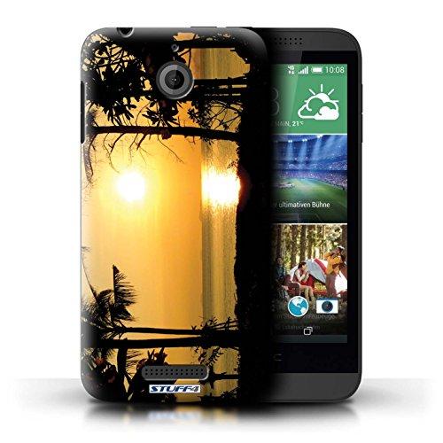 Kobalt® Imprimé Etui / Coque pour HTC Desire 510 / plage conception / Série Coucher du Soleil arbres tropicaux