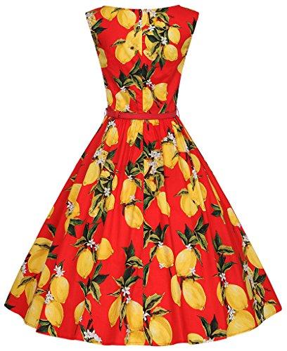 Eudolah Robe patineuse vintage à motif style des années 50 sans manches avec ceinture soirée festival Femme Citron Rouge