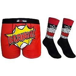 The Big Bang Theory - Set de calcetines para traje y calzoncillos de tipo bóxer - Producto oficial - Negro logo - Medium