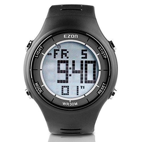EZON Herren Casual Digital Sportuhr mit 3ATM Wasserdicht, Alarm, 50 Jahre Kalender, Countdown Timer, Stoppuhr L008A11 (Schwarz)