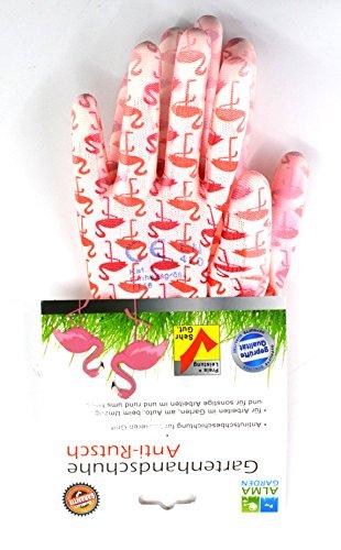 Gartenhandschuhe FLAMINGO pink rosa weiss Gartenarbeit Handschuhe Anti-Rutsch Gripphandschuhe Frauen Arbeitshandschuhe