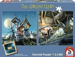 Schmidt Spiele 59600 - Das Unkrautland, Quadratpuzzles, Der Turm auf den Nebelfeldern und Das Turmzimmer, 2 x 500 Teile