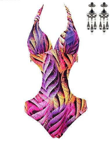 MODETREND Damen Bademode Badeanzüge Neckholder Bunt Streifen Monokini Floreale Gedruckt Strand Push-Up Bikini-Sets Schwimmanzug Bathing Suit Tauchanzug