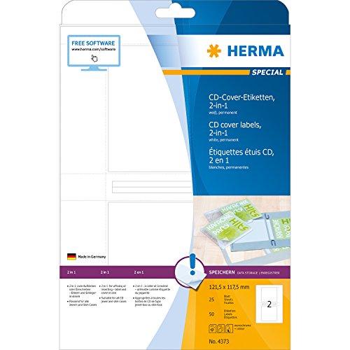 Herma 4373 CD Hüllen-Etiketten zum Aufkleben oder Einschieben, weiß, PC-bedruckbar, 50 Stück, passend für alle Jewel und Slim Cases