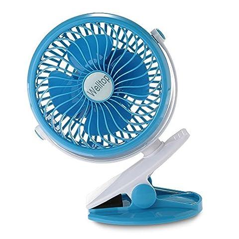 Welltop 360 degrés de rotation clip sur Ventilateur Portable PC Muet Laptop Fan de bureau USB Cooler électronique de refroidissement Poussette Fan clip sur Fan Powered By USB ou 18650 Bleu Batterie
