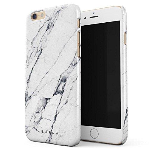iPhone 6 / 6s Hülle, BURGA Licht Weiß Marmor Muster White Marble Dünn, Robuste Rückschale aus Kunststoff Für iPhone 6 / 6s Handyhülle Schutz Case Cover (Teal Color-iphone 6 Case)