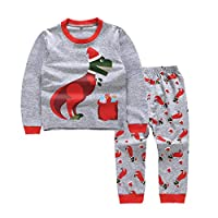 UGUAX Kids Long Sleeve Dinosaur Pajamas Set Top and Pant 2-Piece PJ Set Sleepwear Loungewear