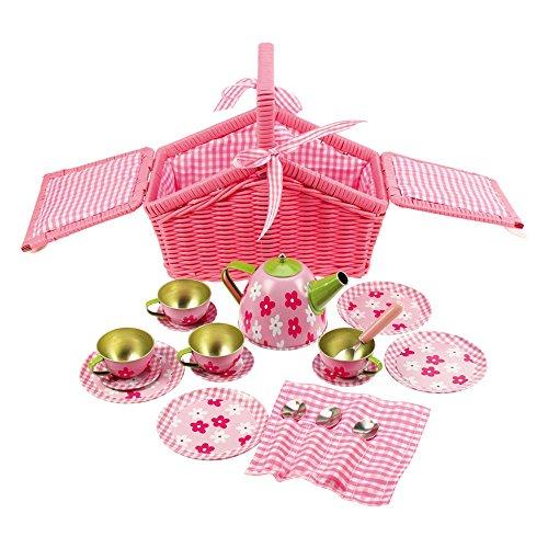 Bigjigs Toys Tee-Set im Korb (Rosa)