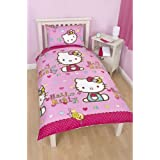 Girls Hello Kitty Reversible Folk Single Duvet Cover Bedding Set (Single Bed) (Pink)