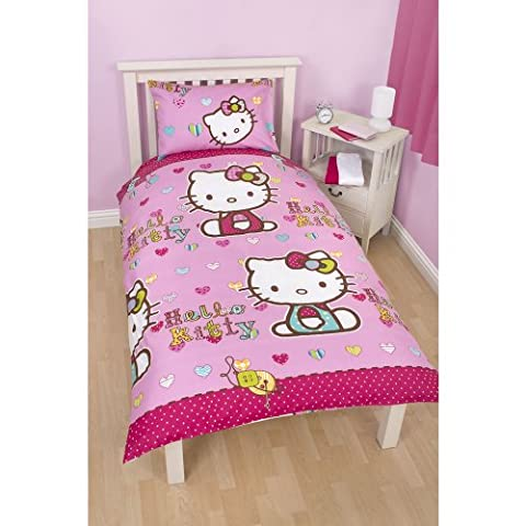 Girls Hello Kitty Reversible Folk Single/Twin Duvet Cover and Pillowcase (Twin Bed) (Pink)