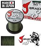 Daiwa J-Braid 8 Braid 0.06mm, 4.0kg / 9.0lbs, 1500m dunkelgrün, rund...