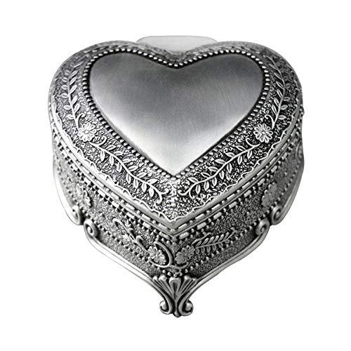 RMXMY Moda romántica en Forma de corazón Caja de música de aleación de Reloj en Relieve mecánico niño Metal octava para Enviar Novia Regalo Preferido