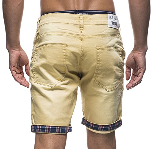 LEIF NELSON Herren Jeans Shorts LN1399-2826 Gelb