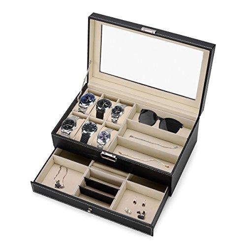 Efantur Uhrenbox Schmuckkasten groß Uhrenkasten 2 Schichte mit Sichtfenster für 6 Uhren + 3 Sonnenbrillen + Schublade für Schmuck, Juwelen u.s.w.(Schwarz)