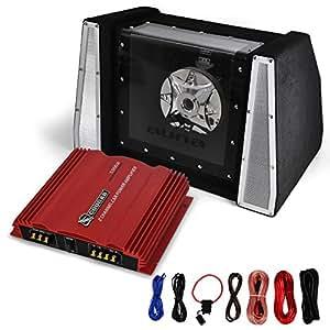 Monte Carlo Pack Sono Auto - Ampli 2 canaux et Subwoofer 25cm (2 voies) - Rouge et noir