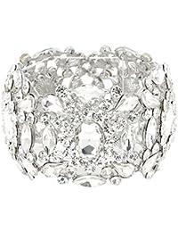 Schmuckanthony Abend Hochzeit ABI Ball Luxus Armband Bracelet Stretch Elastic Kristall Klar Transparent 5,3 cm breit