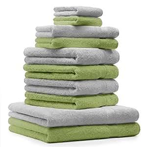 10 tlg. Handtuch Set Premium Farbe Silber Grau & Apfel Grün 100% Baumwolle 2 Duschtücher 4 Handtücher 2 Gästetücher 2 Waschhandschuhe