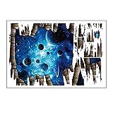 Lumanuby 1x 3D Dekorativer Aufkleber von Sternenklarer Himmel Von der zerbrochenen Mauer Abnehmbarer Wall Decal für Wand oder Fußboden von Wohnzimmer oder Badezimmer, Wandtattoo Serie Size 110x67cm
