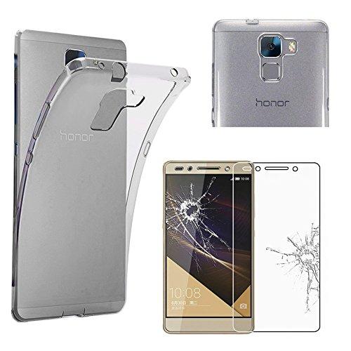ebestStar - Coque Huawei Honor 7 - Housse Coque Silicone Gel Souple ULTRA FINE INVISIBLE + Film protection écran en VERRE Trempé, Couleur Transparent [Dimensions PRECISES de votre appareil : 143.2 x 71.9 x 8.5 mm, écran 5.2'']