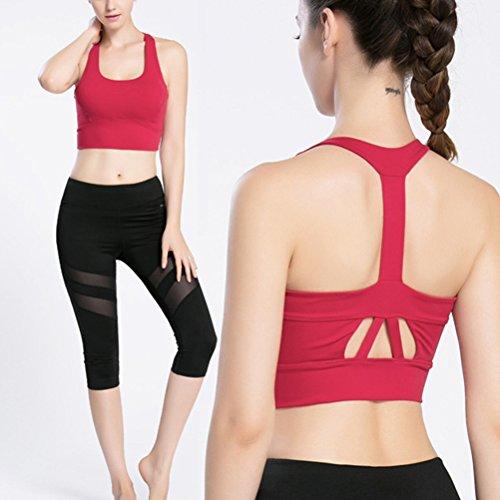 Zhhlaixing Womens Sport yoga Bra Running Fitness Exercise Top Aerobics Vest LWQ-0099 red